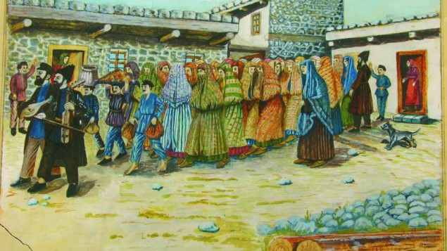 A photo of a painting by Shalom Koboshvili, Taking the bride to the bath house (Mikveh) watercolor on paper (Courtesy Wiki Commons)