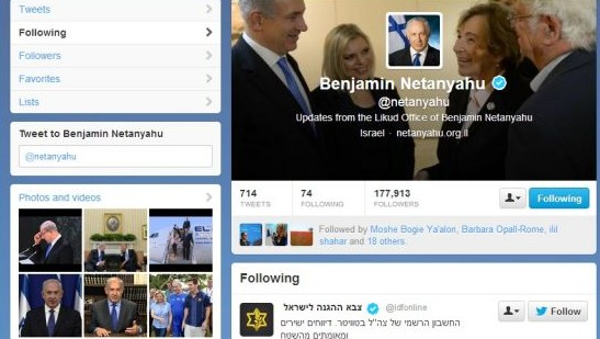 Screenshot of Prime Minister Benjamin Netanyahu's Twitter feed in the early hours of October 13, with the Iranian porn feed and others no longer followed