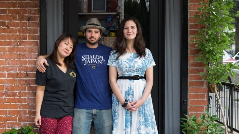 From left: married chefs Sawako Okochi and Aaron Israel, with manager Micaela Grossman, in front of Brooklyn's Shalom Japan. (photo credit: courtesy)