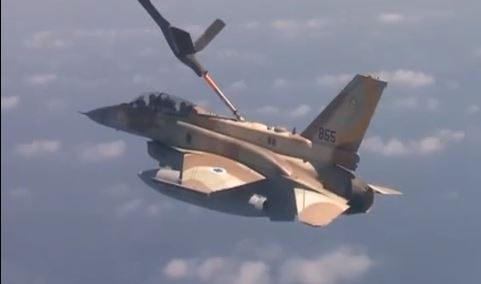 An IAF fighter is refueled during a training exercise, October 2013. (photo credit: image capture YouTube/IAF)