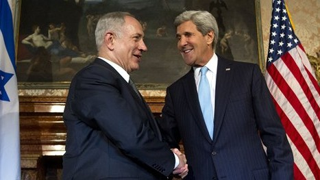 US Secretary of State John Kerry, right, and Israeli Prime Minister Benjamin Netanyahu shake hands for the media on the occasion of their meeting at Villa Taverna, the US Ambassador's residence in Rome, Wednesday, Oct. 23, 2013.  (photo credit: AP Photo/Claudio Peri, Pool)