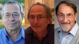 From left to right, 2013 Nobel Prize in chemistry winners Arieh Warshel, Michael Levitt and Martin Karplus (photo credit: CC BY Wikipedia, Harvard University)