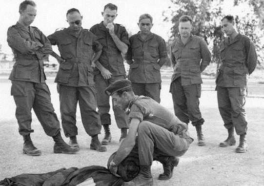 Pundak, third from right, with, from right: Eli Zeira, Yitzhak Rabin, Binyamin Jibli, Moshe Dayan and Zvi Zamir (Photo credit: IDF Archive/ Ministry of Defense/ photographer unspecified)