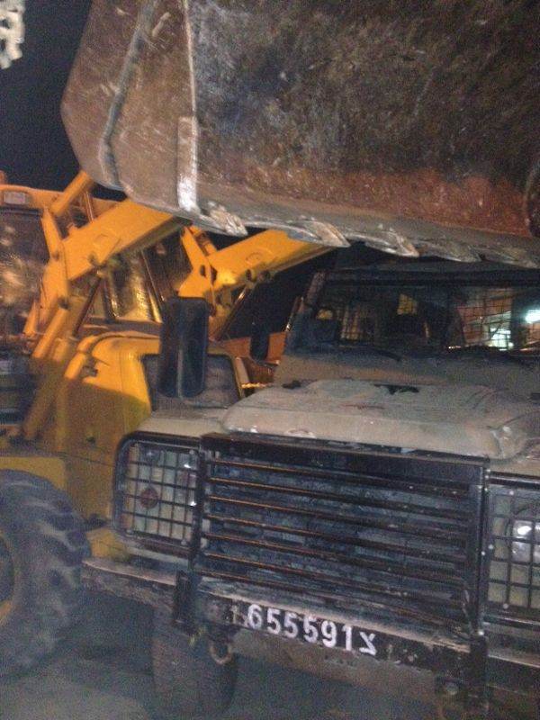 The tractor used in the suspected attack in the Rama IDF base north of Jerusalem October 17, 2013. (Photo credit: IDF Spokesperson's Office)