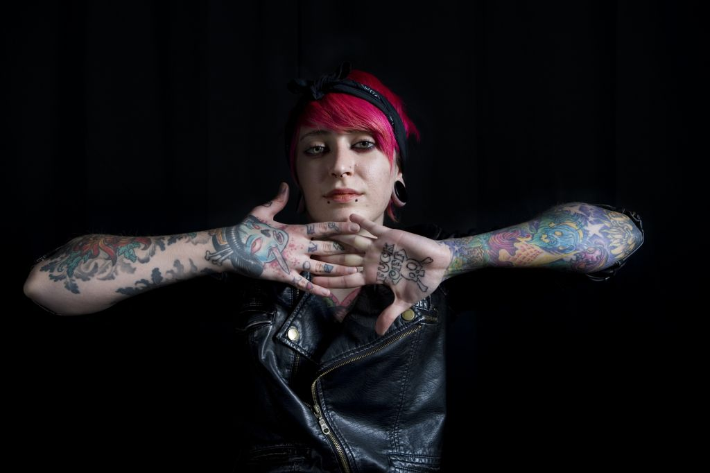 Israelis have been slower to tattoo themselves, but it's a growing trend, said Bergner of this photo from the exhibit (photo credit: Asaf Ezra)