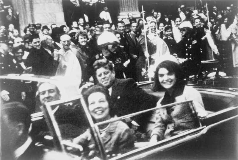 President Kennedy, his wife Jackie, and the Connallys in the presidential limousine seconds before the assassination. (photo credit: Victor Hugo King / Wikipedia Commons)