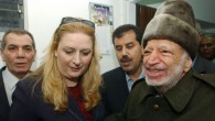 Palestinian leader Yasser Arafat and his wife Suha prior to their departure from his compound in the West B