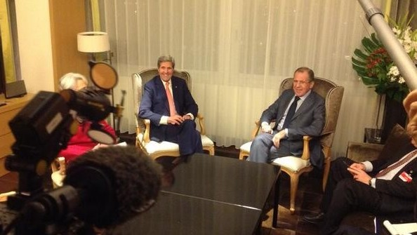 US Secretary of State John Kerry and Russian Foreign Minister Sergey Lavrov held a bilateral meeting on the sidelines of the P5+1 talks with Iran in Geneva Saturday, November 9, 2013. (Photo credit: Russian Ministry of Foreign Affairs/Twitter)