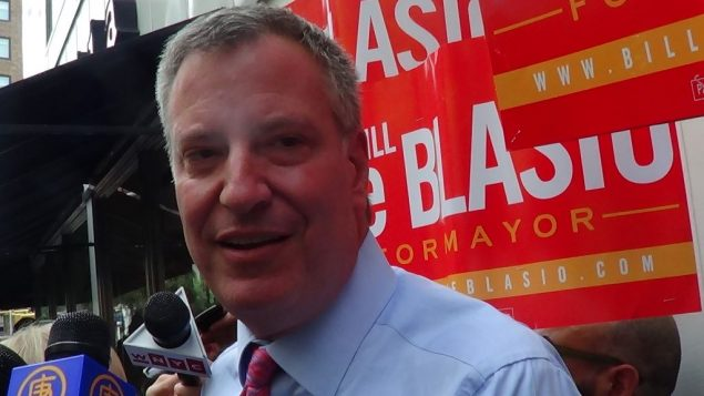 Bill de Blasio: Limited press access, maximized family images. Adam Dickter