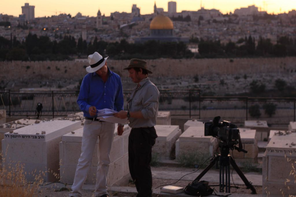 Dr. Simon Sebag Montefiore on the Mount of Olives while filming the BBC series based on his book 'Jerusalem.' (photo credit: courtesy)