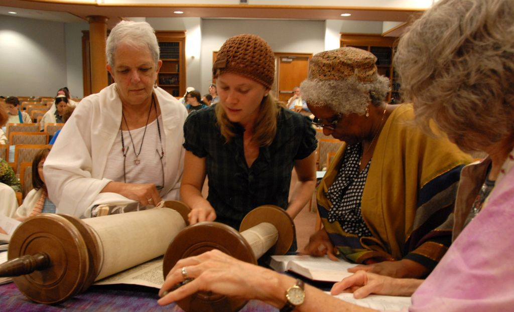 Women reading from the Torah Adas Israel Congregation in Washington. (photo credit: Adas Israel/JTA)
