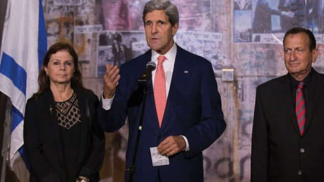 Secretary of State John Kerry, here at a memorial service in November for slain Prime Minister Yitzchak Rabin. Getty Images