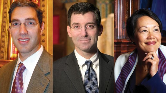 New spiritual leaders on the East Side are, clockwise from left, Elliot Cosgrove, Joshua Davidson and Angela Buchdahl.