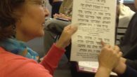 LEV program teacher Sheera Zuckerman helps out a student reading Hebrew. Merri Rosenberg