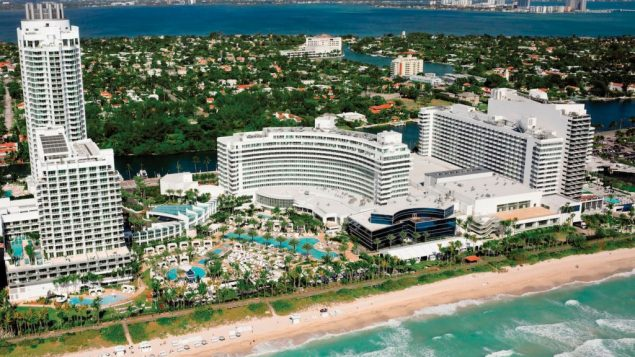 An aerial view of the iconic Fountainebleau Hotel, designed by Morris Lapidus. Photo courtesy JTA