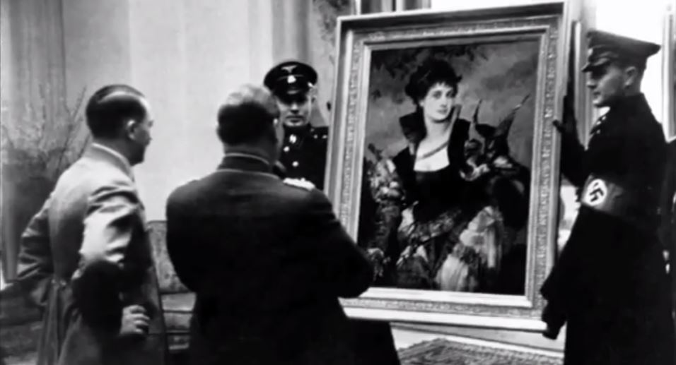 Hitler assesses looted art (photo credit: YouTube screenshot)
