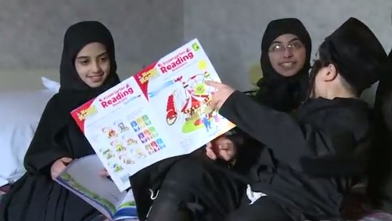 Lev Tahor children studying in a hotel room in Ontario. (photo credit: YouTube screenshot)