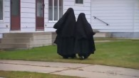 Lev Tahor girls walking in Chatham, Ontario, in December 2013 (screen capture: YouTube)