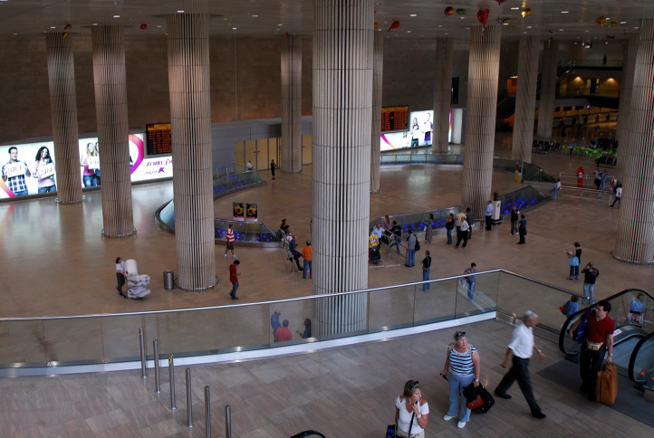 A general view of the arrival hall of Terminal 3 Ben Gurion International Airport, September 14, 2006. (photo credit: Gili Yaari/Flash90)