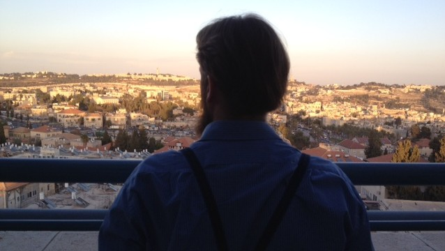 Jonas, an Amish man, looking out over Jerusalem Thursday during a reconciliation mission to Israel (photo credit: Times of Israel/ Lazar Berman)