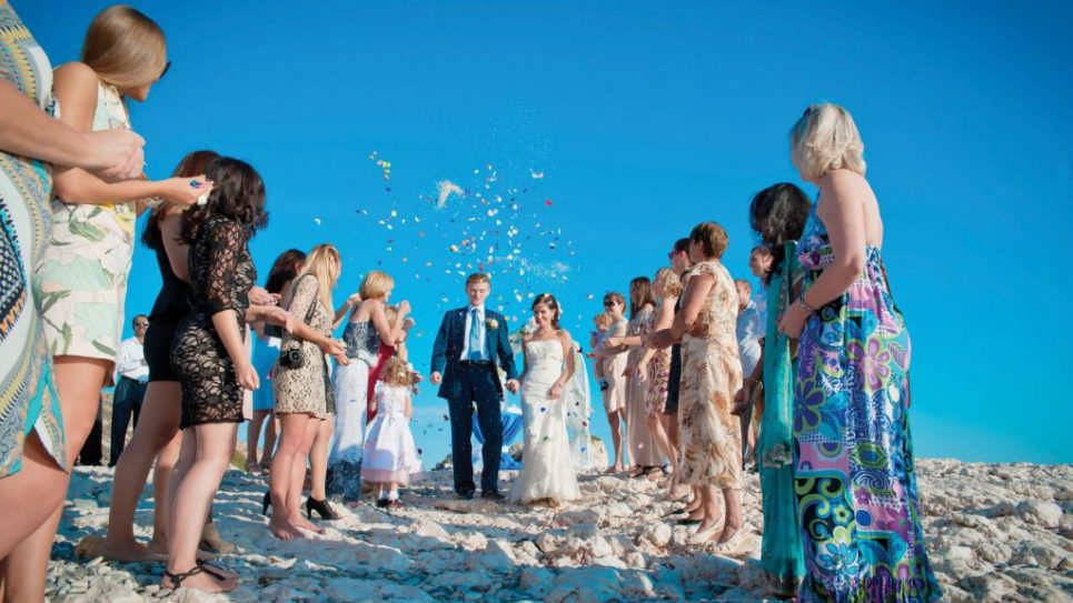 A wedding on the beach at the supposed birthplace of Aphrodite, in Cyprus. Photo courtesy of Alexandra Zimakova