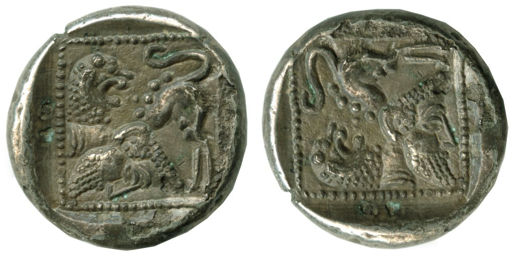 The obverse of a Samarian drachm with a lion (left) which, when turned 90˚ (right) becomes a bearded man. (photo credit: Vladimir Naikhin/Israel Museum)