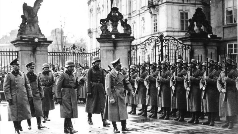 Adolf Hitler at Prague Castle, March 16, 1939 (photo credit: Bundesarchiv/ Wikipedia)