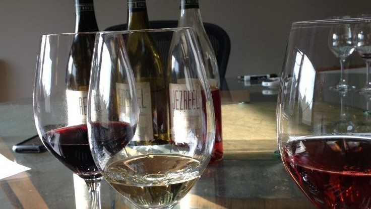 A red, a white and a rose from Jezreel Valley Winery (photo credit: Jessica Steinberg/Times of Israel)