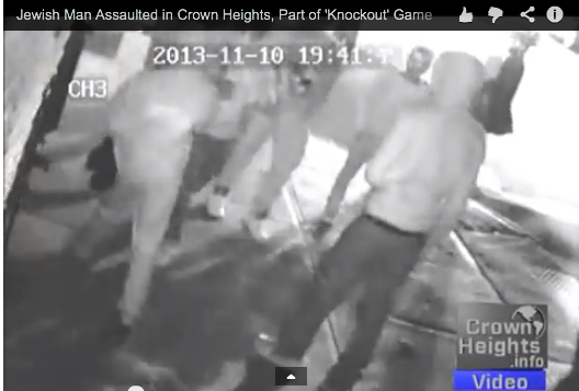 A security camera captured an incident in which a Jewish man said he was assulted. Photo via CrownHeights.info