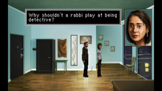 The Shivah video game is a murder mystery featuring a rabbi. Originally released in 2006, it's now available in the App Store.
