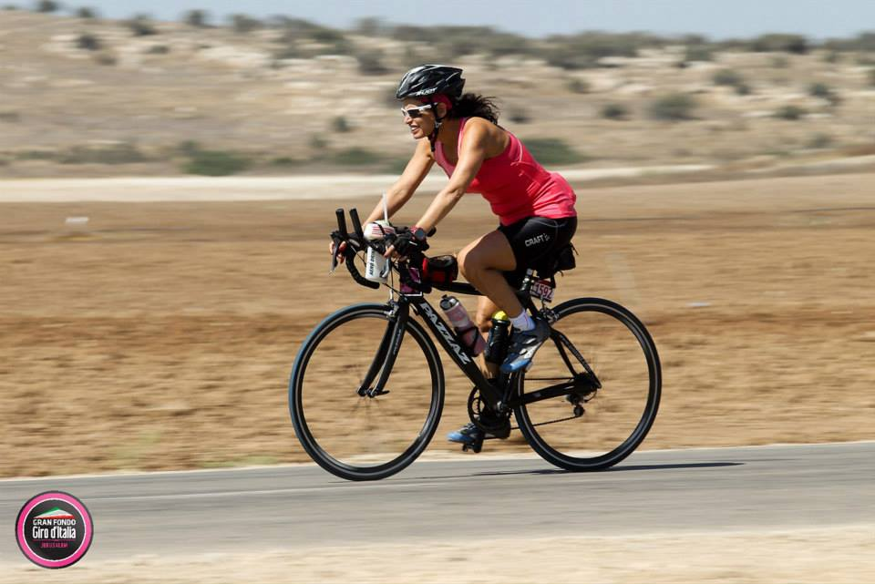 Iris Atzmon on her bike, preparing for IsraMan Negev (Courtesy Iris Atzmon)