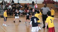 Third and fourth-grade boys in action in a recent JBL game. Photo courtesy of Jewish Basketball League