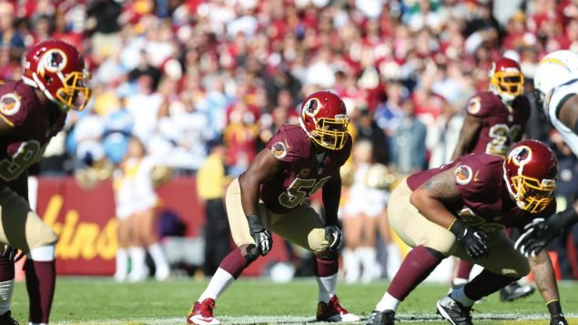London Fletcher at middle linebacker for the Washington Redskins.  Photo courtesy Washington Redskins