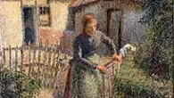Shepherdess Bringing in Sheep by Camille Pissarro (photo credit: public domain, Wikimedia Commons)