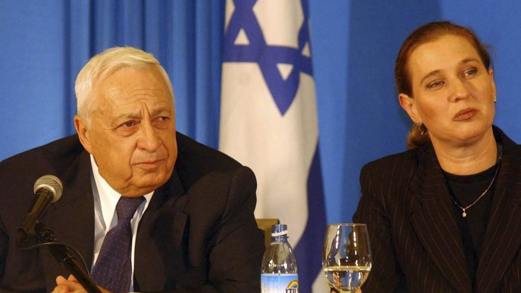Sharon with Tzipi Livni in 2001. Livni would later follow Sharon into the Kadima party in 2005. (photo credit: Flash90)
