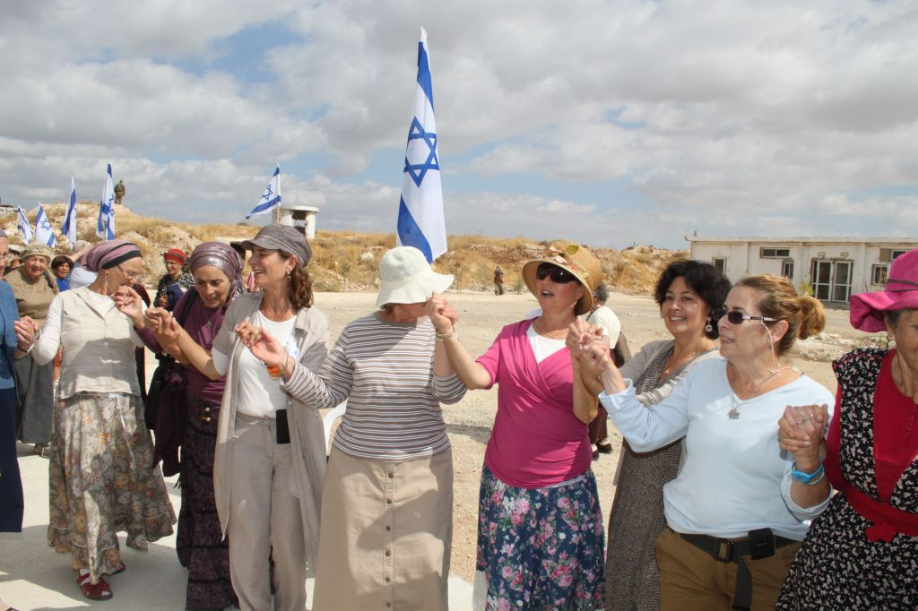 Dancing during celebrations for a new building at an abandoned military base in Shdema between Har Homa and the settlement of Tekoa in Gush Etzion (photo credit: Gershon Elinson/Flash90)