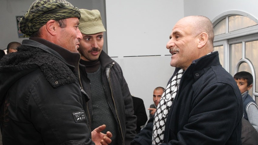 Well-wishers greet freed Fatah terrorist Ahmad Kamil at his home (photo credit: courtesy Shlomi Gabbai/ Walla news)