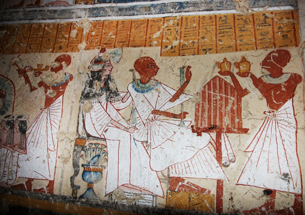 This image released by the Supreme Council of Antiquities shows colored inscriptions on a newly discovered tomb in Luxor, Egypt, Friday, Jan. 3, 2014. (photo credit: AP/Supreme Council of Antiquities)