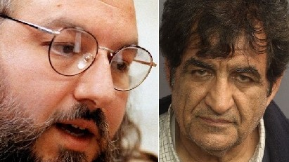Jonathan Pollard, left, and and alleged Iranian spy Mozaffar Khazaee. (photo credit: AP/Karl DeBlaker, courtesy Essex County, Connecticut, USA)