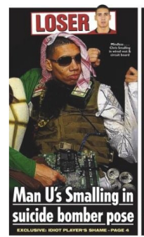Chris Smalling on the UK Sun newspaper's front page, January 9, 2014