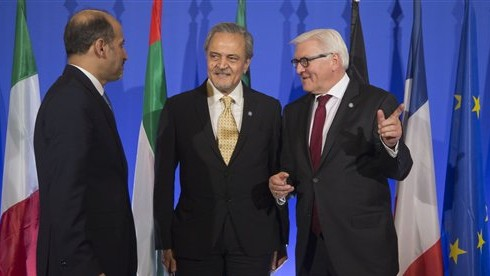 Syrian National Coalition Chief Ahmad al-Jarba, left, Saudi Foreign Minister Prince Saud al-Faisal, center, and German Foreign Minister Frank-Walter Steinmeier, talk prior to a press conference at the foreign ministry in Paris,  Jan. 12, 2014  (photo credit: AP/Michel Euler)