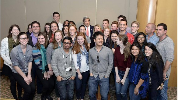 AJC Project Interchange student delegates pose with US Secretary of State John Kerry. (photo credit: AJC Project Interchange)