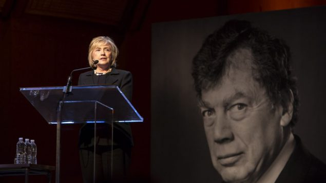Former Secretary of State Hillary Clinton speaking at service for Edgar Bronfman. Photo courtesy of Samuel Bronfman Foundation