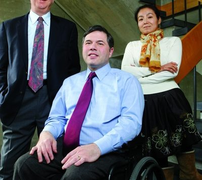 William P. Alford, chair of the Harvard Law Project on Disability, left, prize-winner Michael Stein, center. Aynsley Floyd