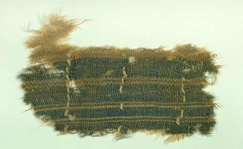 Fabric treated with actual murex dye (photo credit: Clara  Amit, courtesy of the Israel Antiquities Authority)
