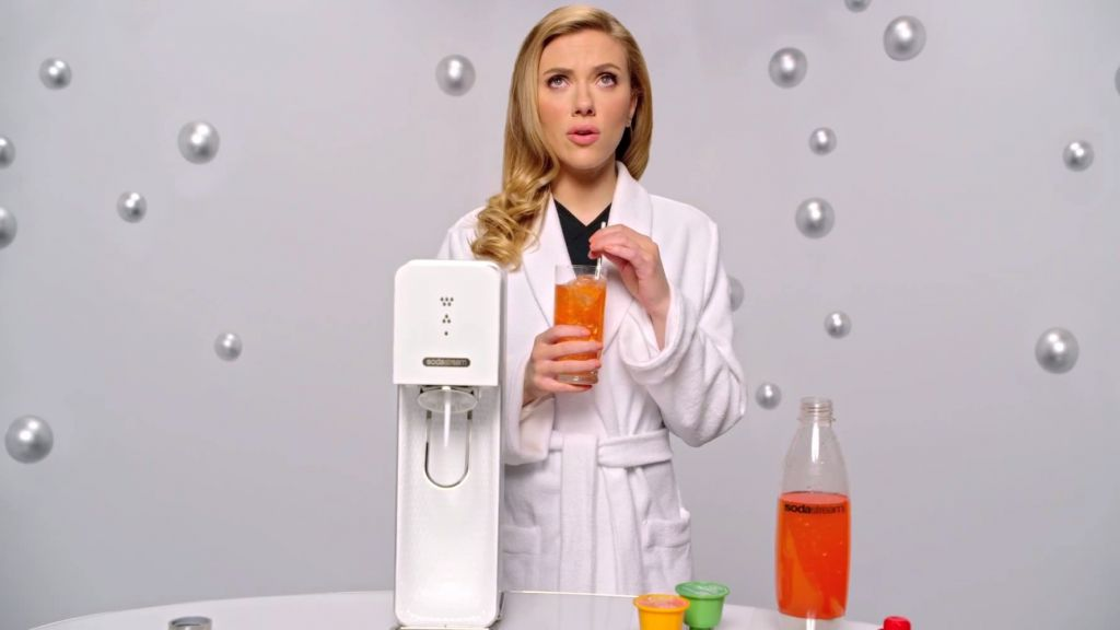 Scarlett Johansson in SodaStream's Superbowl ad (screen capture: YouTube)