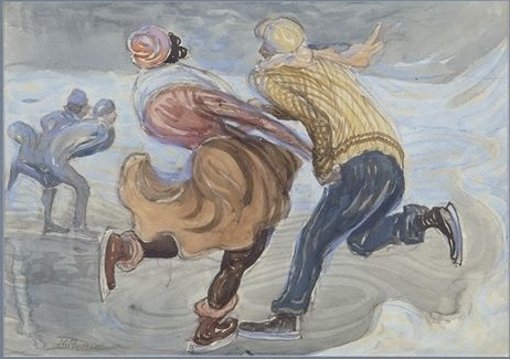 Ice Skaters, No date, Watercolor, 35x50 cm (Image courtesy of the Rynecki family)