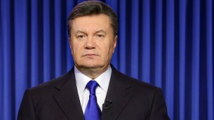 Ukraine's President Viktor Yanukovych speaks in Kiev on Wednesday, February 19, 2014 during an address to the nation (photo credit: AFP/Presidential Press Service pool/STR)
