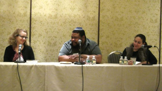 Rabbi Mary Zamore, Michael Twitty and Shannon Sarna at Limmud NY foodie panel.  Lauren Rothman/JW