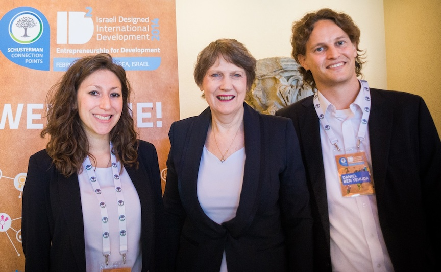 Helen Clark (C.) flanked by Danielle Abraham and Daniel Ben Yehuda (Photo credit: Courtesy)